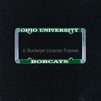 Ohio University Bobcats Chrome License Plate Frame with Green Background And Raised White Lettering