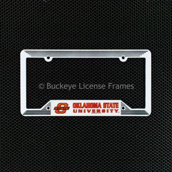 Oklahoma State University White Plastic License Plate Frame