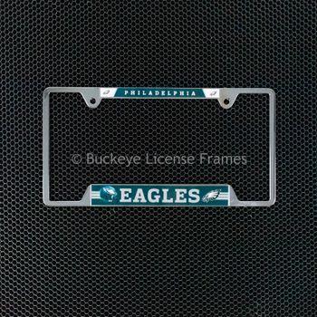 Philadelphia Eagles Chrome License Plate Frame - Philadelphia Top - Metal