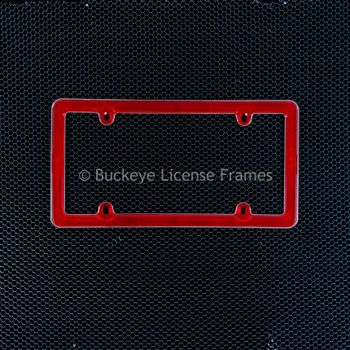 Red Reflectorized Chrome Trimmed Plastic License Plate Frame