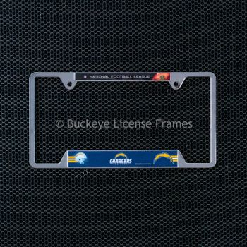 San Diego Chargers Chrome Metal License Plate Frame