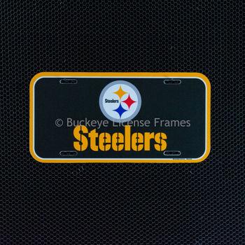 """Pittsburgh Steelers Logo Plastic License Plate """"STEELERS"""""""