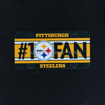 "Pittsburgh Steelers ""#1 Fan"" Plastic License Plate"