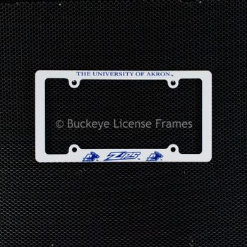University Of Akron Zips Screen Printed White Plastic License Plate Frame