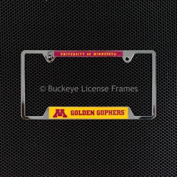 University Of Minnesota Golden Gophers Chrome License Plate Frame - Metal