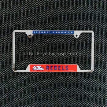 University of Mississippi Rebels Chrome License Plate Frame - Metal