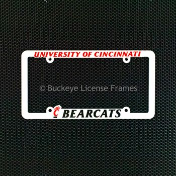 University Of Cincinnati Bearcats White Plastic License Plate Frame With Raised Red And Black Lettering