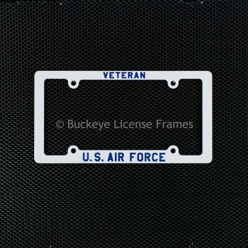 United States Air Force Veteran Screen Printed White Plastic License Plate Frame - Military