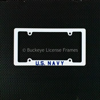United States Navy Screen Printed White Plastic License Plate Frame - Military