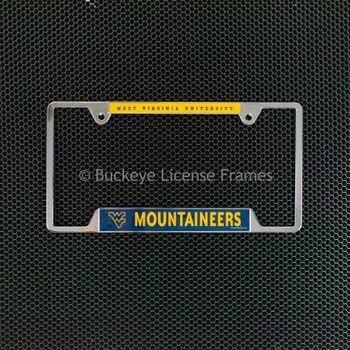 West Virginia University Mountaineers Chrome License Plate Frame - Metal