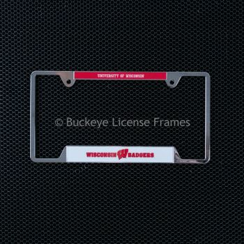 University Of Wisconsin Badgers Chrome License Plate Frame-Metal