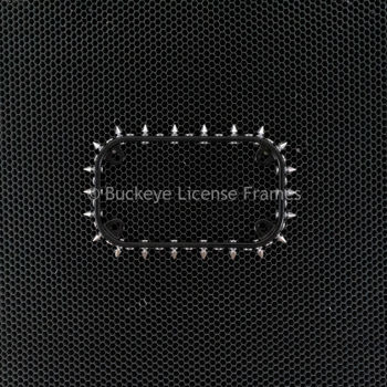 Black with Chrome Spikes Motorcycle Plate Frame