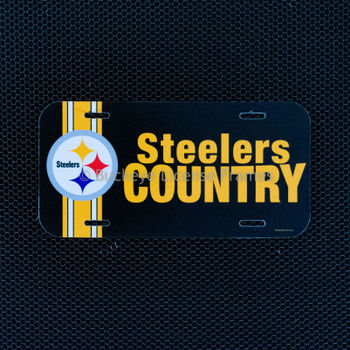 """Pittsburgh Steelers """"Steelers Country"""" Plastic License Plate"""