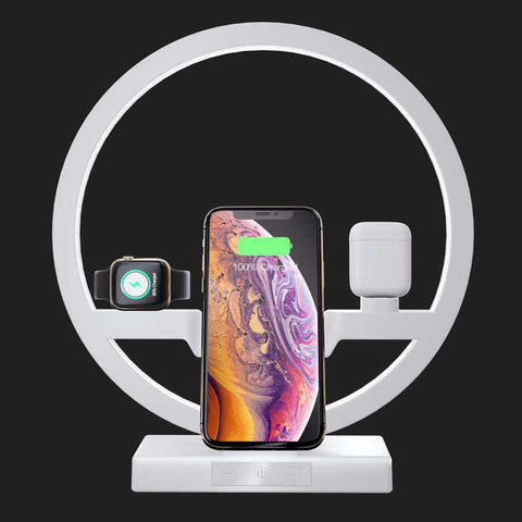 Used 3 IN 1 QI Fast Wireless Charger Dock for iPhone 8, 8 Plus, X and above, for Apple Watches, Airpods, Samsung S10 / S9+ / S9 / S8 / S8+ / Note 9/8 and other phones that support Qi Charger Holder LED Lamp White