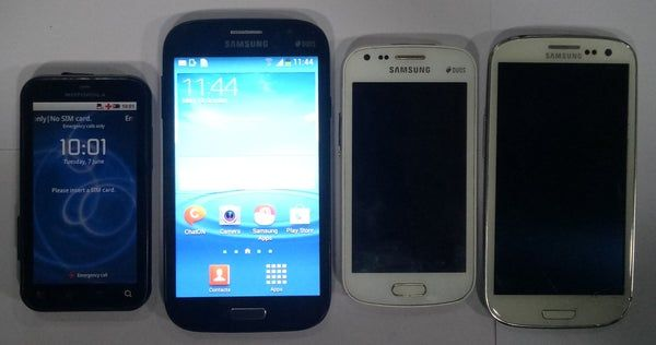 Buy Combo of Used Samsung Galaxy S Duos(S7562) + Samsung Galaxy S3 Neo(GT-I9300I) + Galaxy Grand (GT-i9082) + Motorola touch