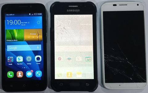 Combo of Used Huawei Honor Bee + Motorola Moto X 1st gen + Samsung Galaxy J1 Mobiles