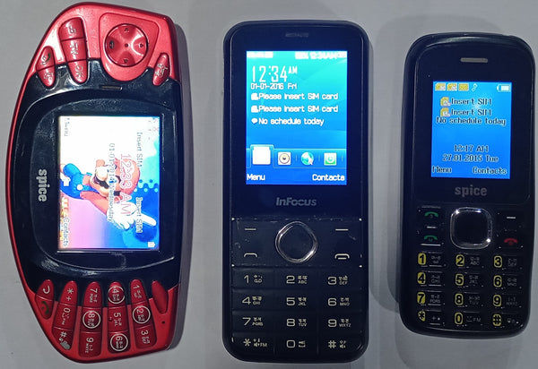 Buy Combo of Used Infocus Boom box + Spice Mobile (Boss M-5000) + Spice Mobile (X-2) Mobiles