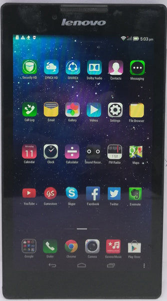 """Used Lenovo TAB 2 A7-30HC 1GB RAM 8 GB WiFi, 3G 7"""" Black Tablet"""