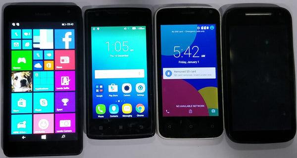 Combo of Used Microsoft Lumia 535 + Lenovo A1000 + Motorola E 2nd Gen + Karbonn Alfa A91 strom Mobiles