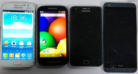 Combo of Used Samsung Galaxy Grand Quattro + Motorola Moto E 1st Gen + Samsung Galaxy S2 + HTC Desire 626 Dual Mobiles