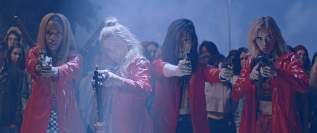 Em Abra Lily Odessa Young Bex Hari Nef and Sarah Suki Waterhouse in ASSASSINATION NATION. Courtesy of NEON 7de44