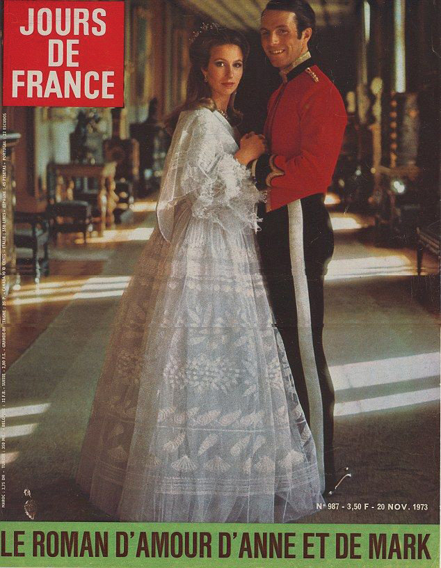 Princess Anne wears Zandra Rhodes to announce her engagement on the cover of Jours De France NOV 1973 2cc3e