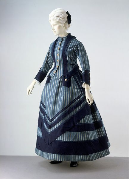 1872 british cotton seaside costume trimmed with silk braid fastened with bone buttons via victoria and albert museum a7ccd
