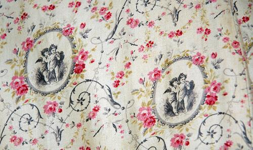 1878 1880 printed cotton sateen seaside dress with a design of cupids and pink roses 4 via bowes museum ffc1e