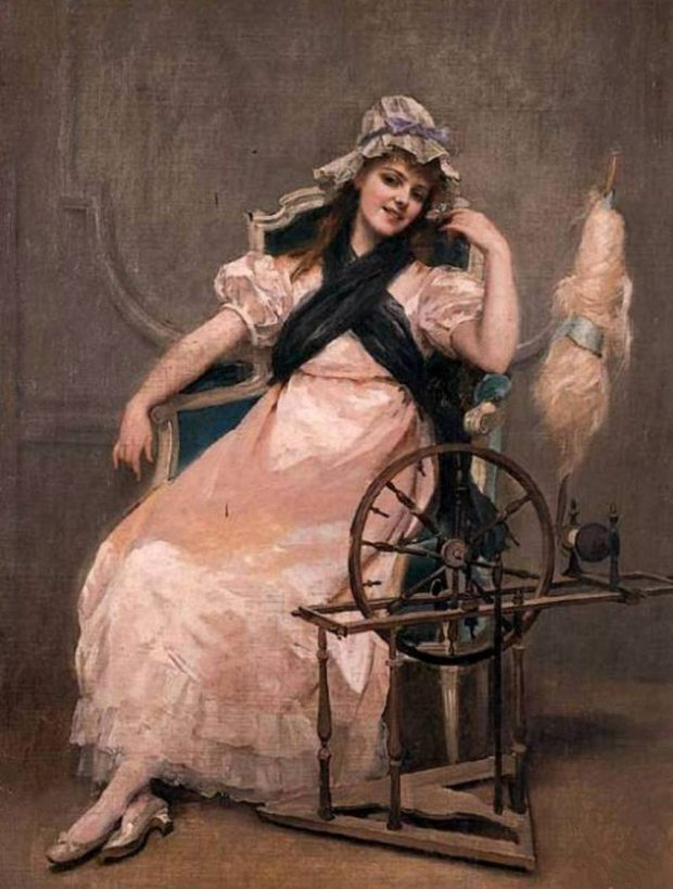 A Young Beauty at a Spinning Wheel by Madeleine Jeanne Lemaire 1886 e1507237594165 16b64
