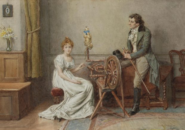 An Encounter at the Spinning Wheel by George Goodwin Kilburne n.d. e1507237284371 5ca9f
