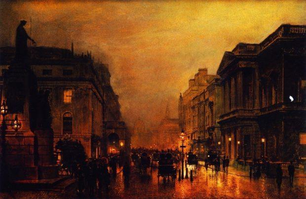 London Pall Mall and Saint James Street by John Atkinson Grimshaw c. 1880 1889 e1566341081754 a335b