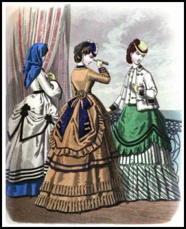seaside costumes with capeline ladies monthly magazine 1869 76809