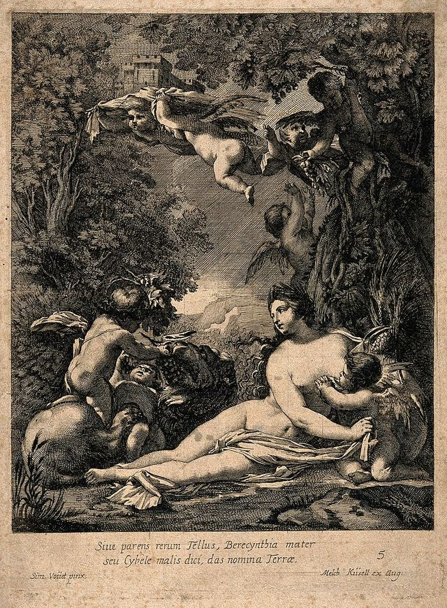 Cybele a Phrygian earth goddess surrounded by putti lions Wellcome V0015028 85882