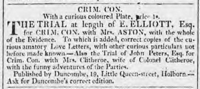 criminal conversation colored plate advert saturday 19 december 1818 morning chronicle london england 768x342 84472
