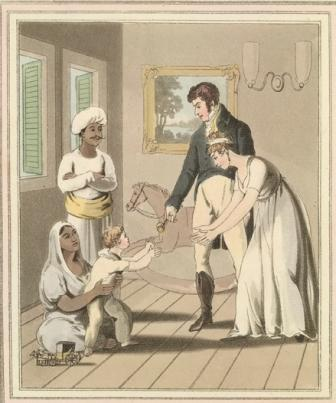 european lady and her family attended by an ayah from the costume and customs of modern india 1824 image via british library d93bc