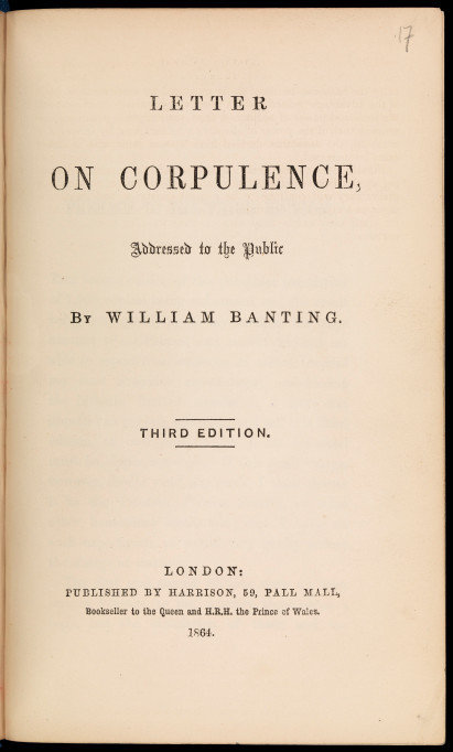 letter on corpulance by willian banting from wellcome collection 700f0