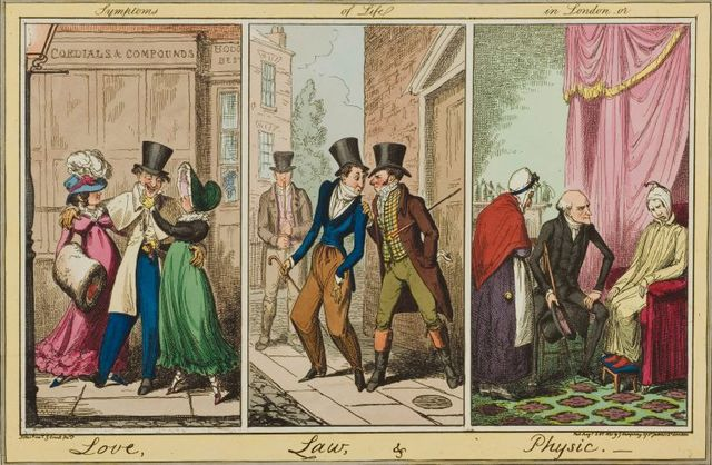 symptoms of life in london or love law and physic by george cruikshank 1821 image via wellcome library 768x501 7dc52