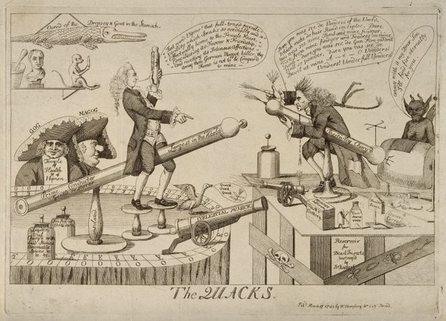 two unorthodox medical practitioners j graham and g katerfelto battling against each other each surrounded by objects symbolising his practice etching 1783 image via the welcome tr 768x552 c26ff