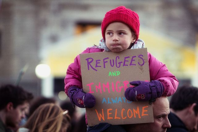 Refugees and Immigrants Always Welcome Thursday evening rally against Trumps Muslim Ban policies sponsored by Freedom Muslim American Womens Policy 32422207201 b9fcc