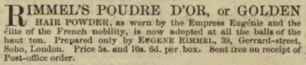 Rimmels Golden Hair Powder Illustrated London News 18 June 1853 2 e1528667349697 fd635