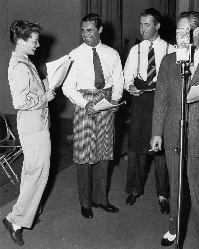 Hepburn Grant Stewart Radio Publicity Photo 7f89b