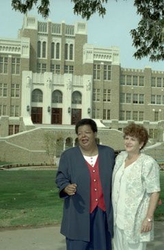 elizabeth eckford and hazel byran pose outside of little rock central high 1997 dca04