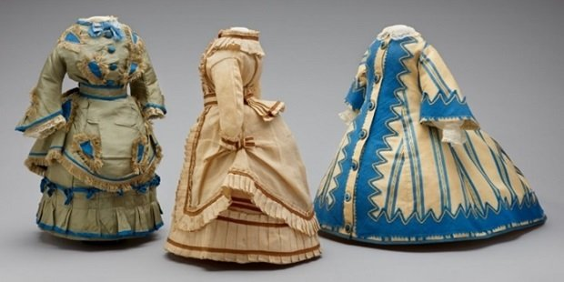 Three doll dresses from Miss Fanchons wardrobe late 1860s 1870s possibly France 648d8
