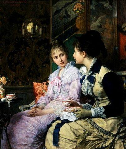 Ladies Taking Tea by Joseph Scheurenberg Date unknown f7905
