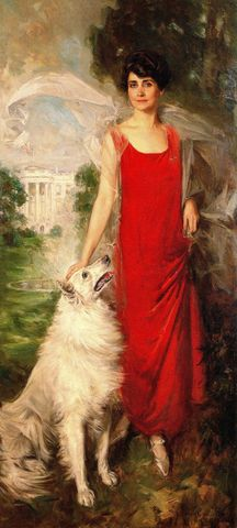 official portrait of first lady grace coolidge with her white collie 1924 by howard chandler christy 65872