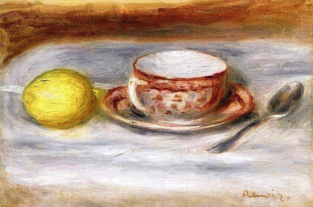 Cup of Tea Spoon and Lemon by Pierre Auguste Renoir 1909 e1549398525129 9272e