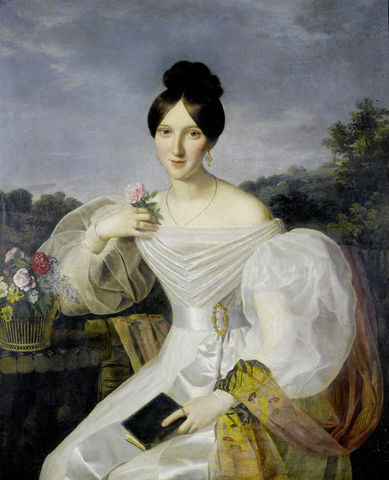 a lady in a white dress and shawl before a viennese landscape by ferdinand georg waldmc3bcller mid 19th century 36b85