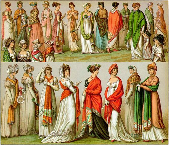 a variety of wearing shawls in early 19th century france lithograph 1802 1814 768x658 c7f33