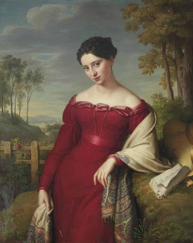 portrait of a young lady in a red dress with a paisley shawl by eduard friedrich leybold 1824 768x967 d707a