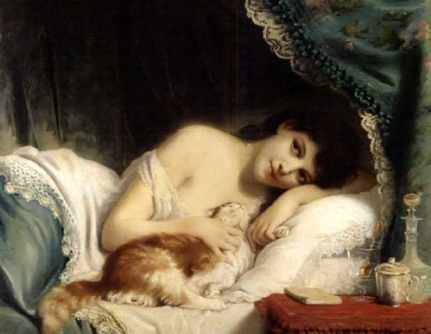 a reclining beauty with her cat by fritz zuber bc3bchler 1822 1896 cd54a